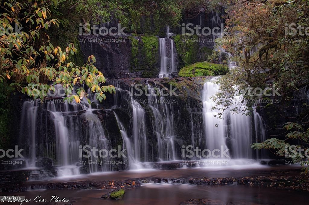 Purakaunui Falls (2). stock photo