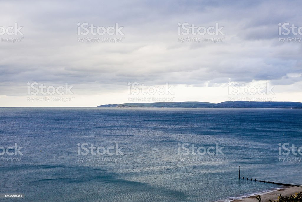 Purbeck Hills from Bournemouth Cliff View stock photo