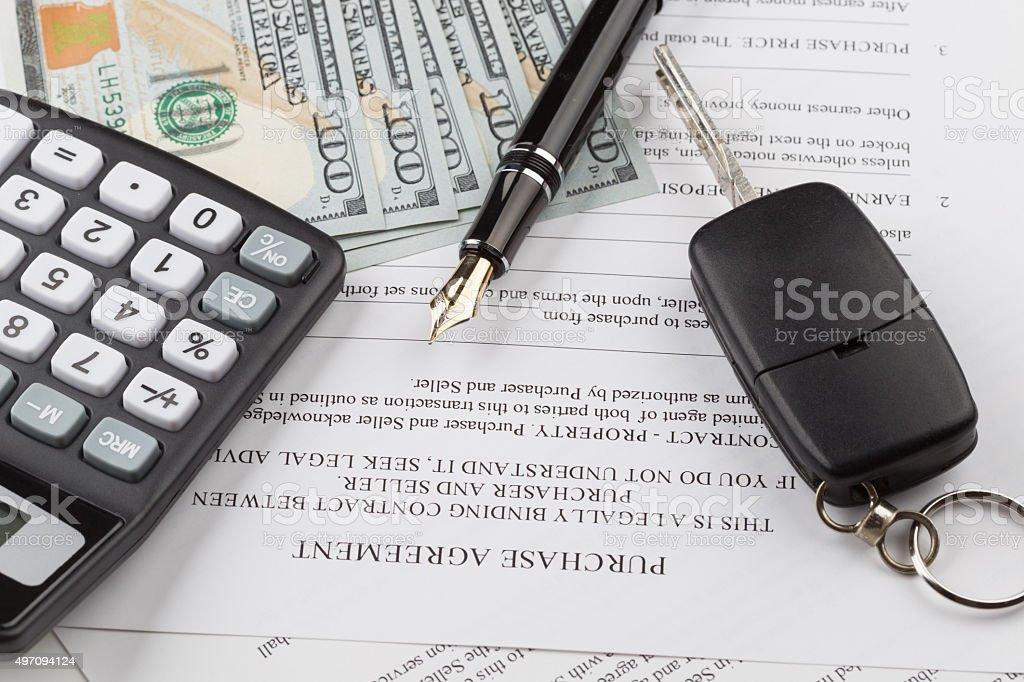 purchase contract with the car keys stock photo