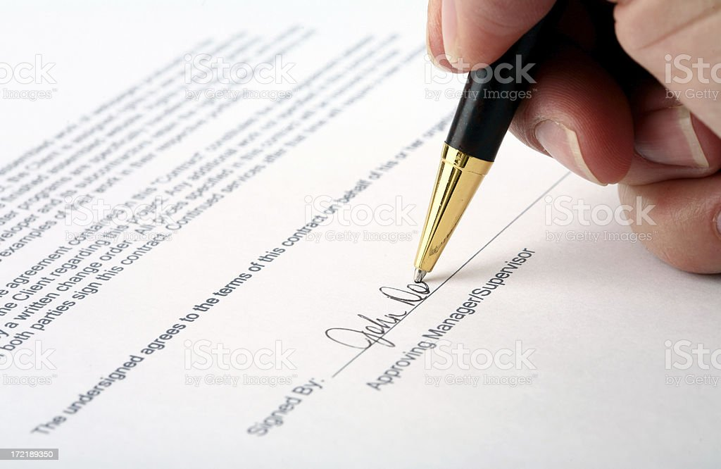 Purchase Order Signature stock photo