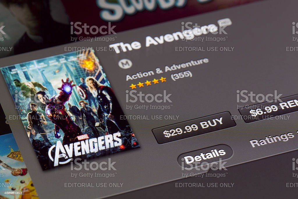 Purchasing movie in iTunes on a new ipad royalty-free stock photo