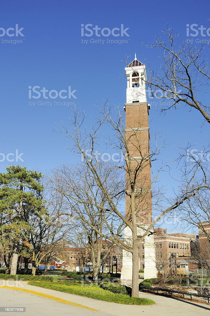 Purdue University Campus Bell Tower and New Education Building Construction stock photo
