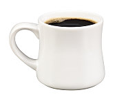 Pure black coffee in a stark white mug on white background