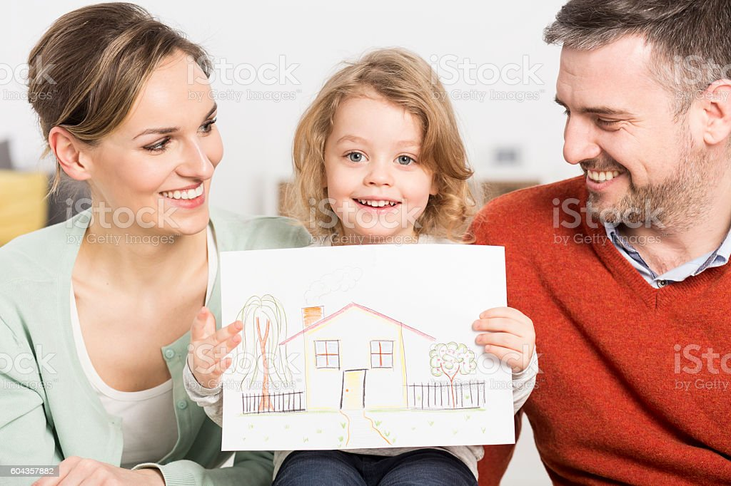 Pure feelings reflected on the drawing of a child stock photo