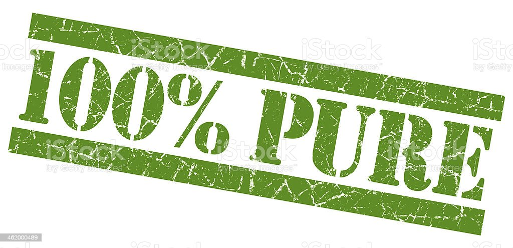 100% pure grunge green stamp stock photo