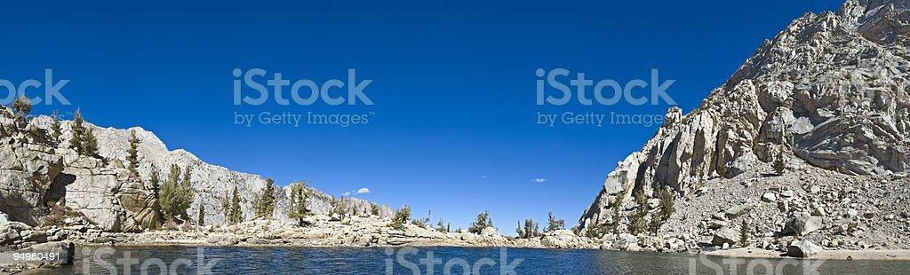 Pure mountain lake panorama stock photo