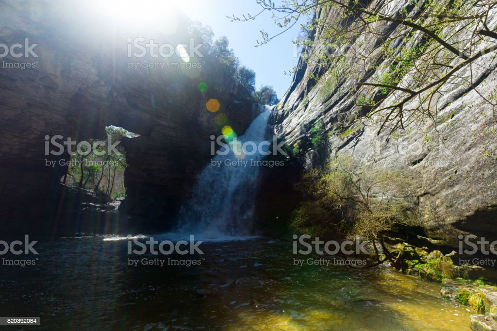 Pure mountain waterfall Cantonigros stock photo