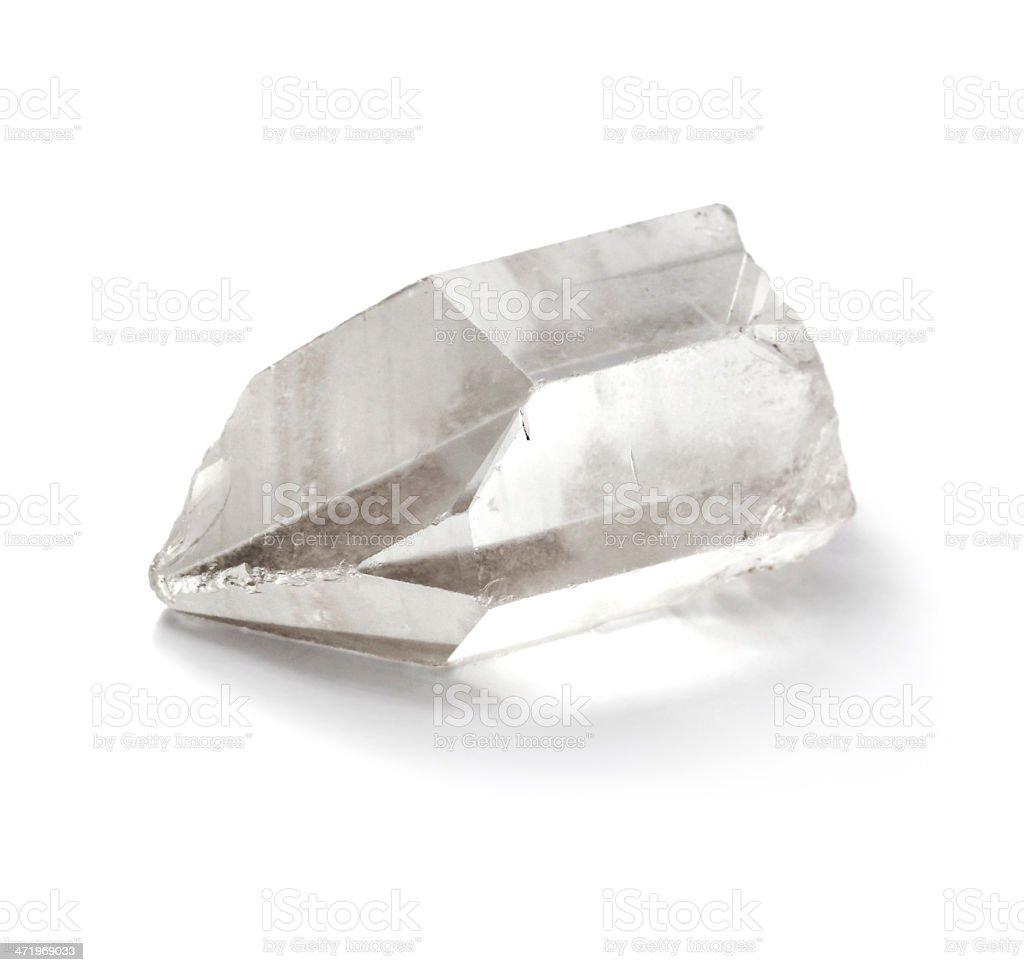 Pure quartz crystal isolated on the white background stock photo