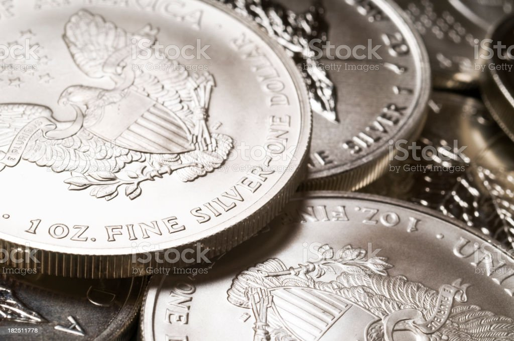 Pure silver bullion coins stock photo