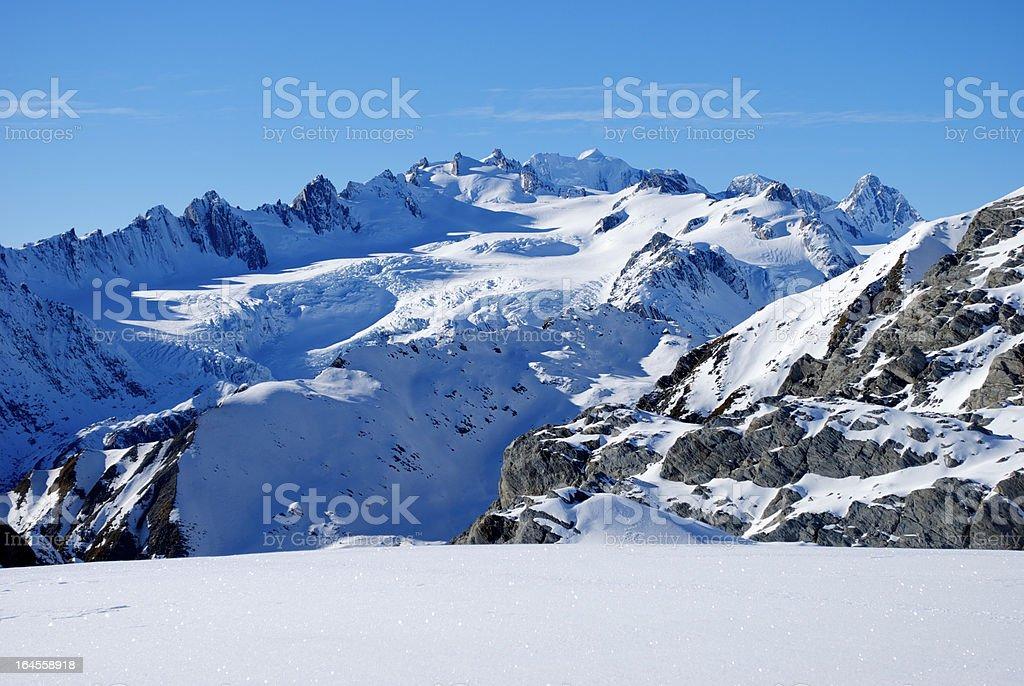 Pure Snow, Mt Cook Ranges, New Zealand. stock photo
