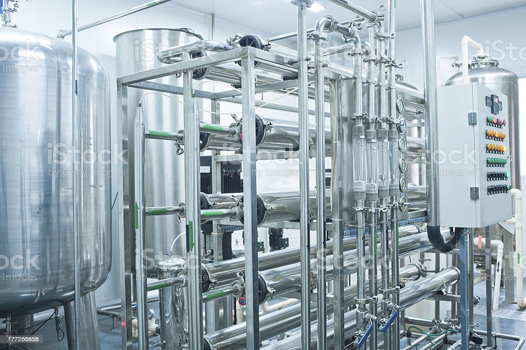 Pure water production line stock photo
