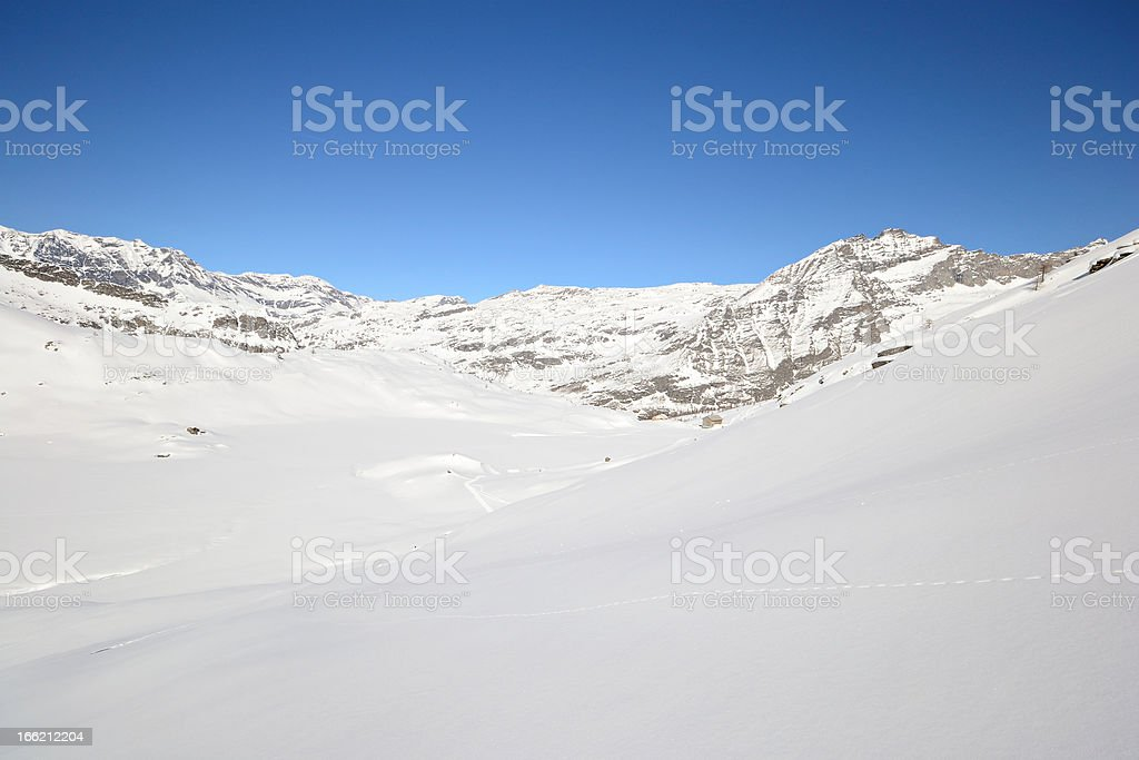 Pure white alpine landscape royalty-free stock photo