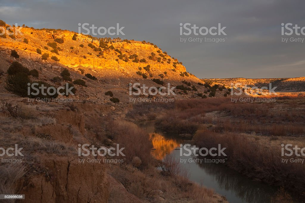 Purgatoire River valley sunset Picket Wire Canyonlands Colorado stock photo