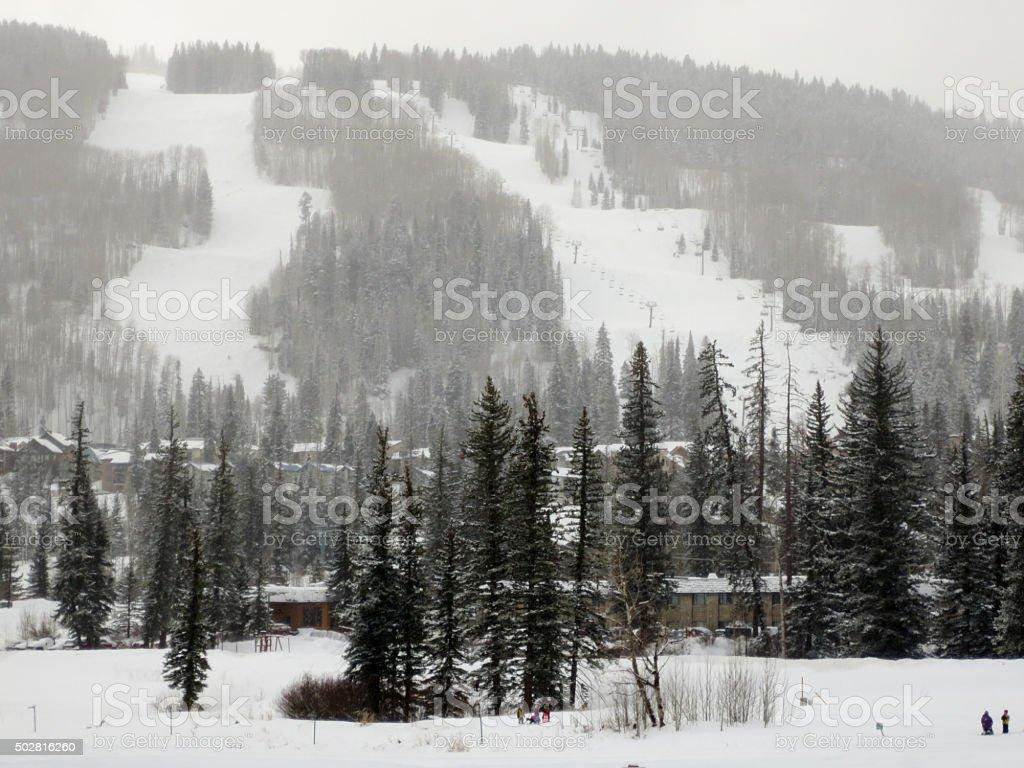 Purgatory ski area through a snow storm stock photo