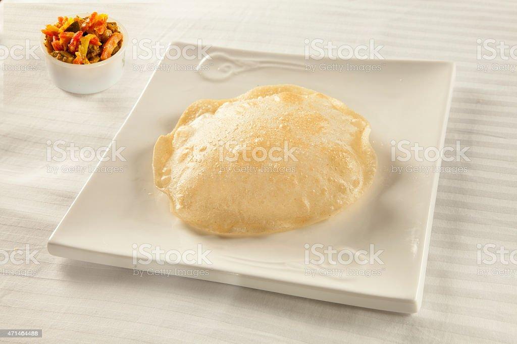 Puri with chutney achaar an indian/pakistani traditional cuisine stock photo