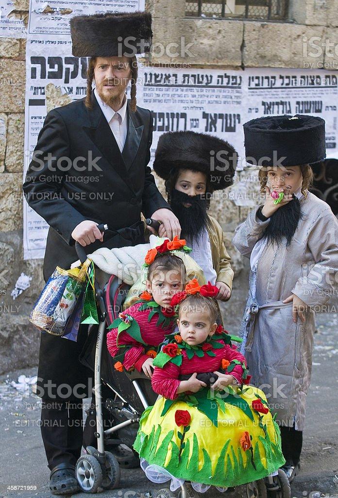 Purim in Mea Shearim stock photo