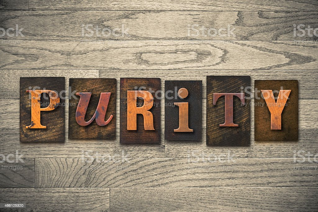Purity Concept Wooden Letterpress Type stock photo