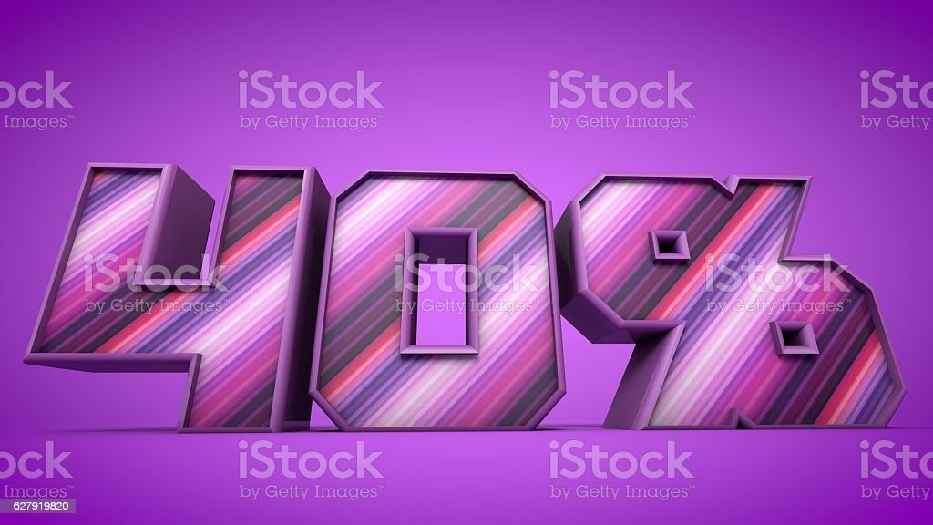40% purple 3d text illustration stock photo