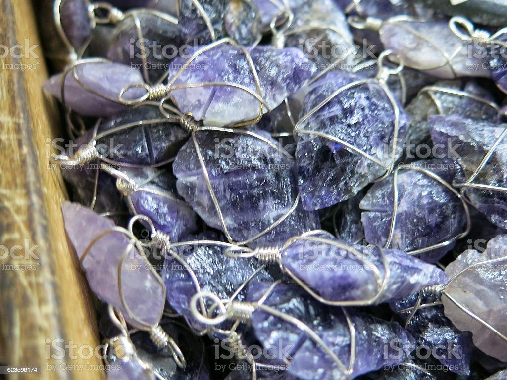 Purple Amethyst Quartz Fashion Necklace Pendant, Gemstone Crystal New Age stock photo