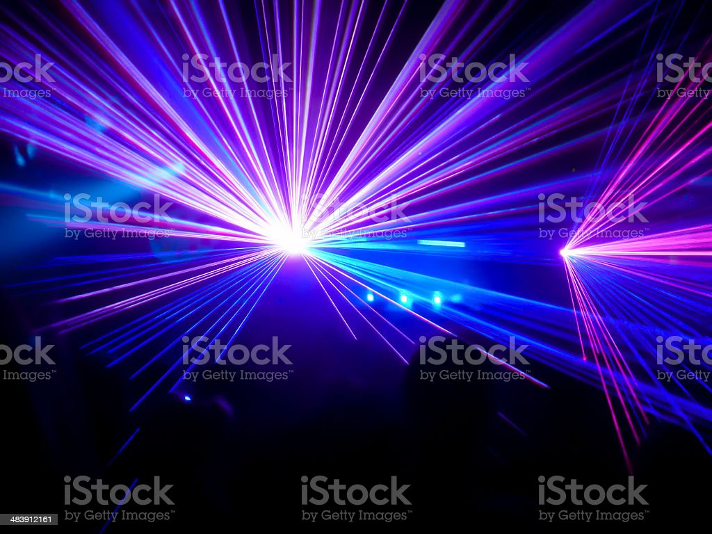 Purple and blue club lasers stock photo