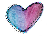 Purple and blue hand painted heart with white copyspace