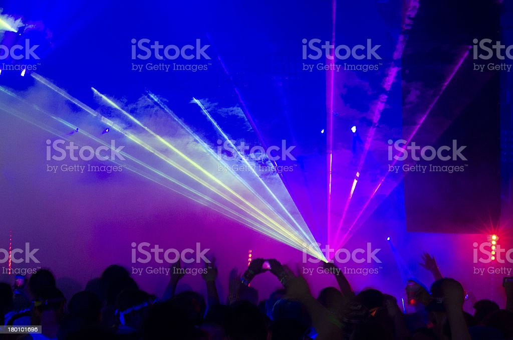 Purple and Blue Laser at Concert stock photo