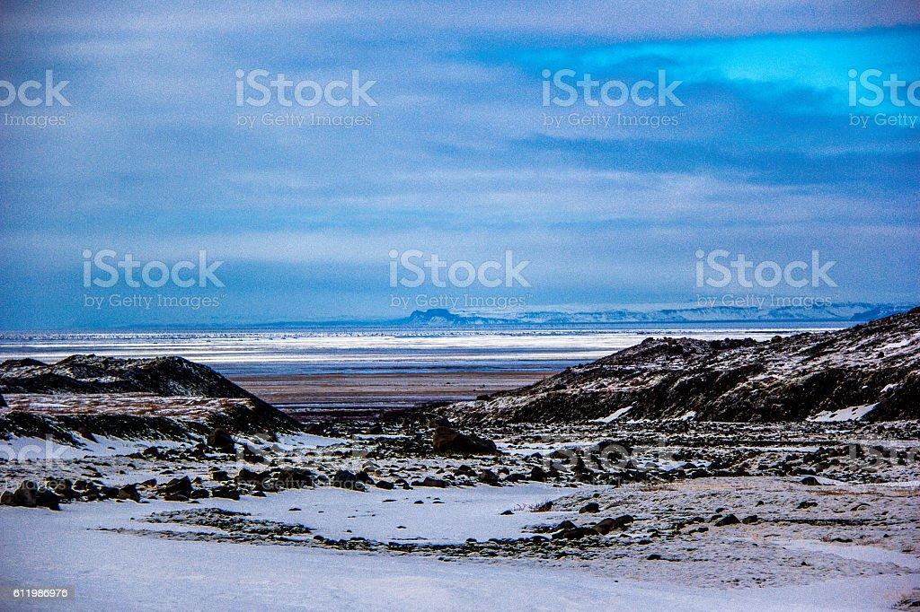 Purple and blue skys stock photo