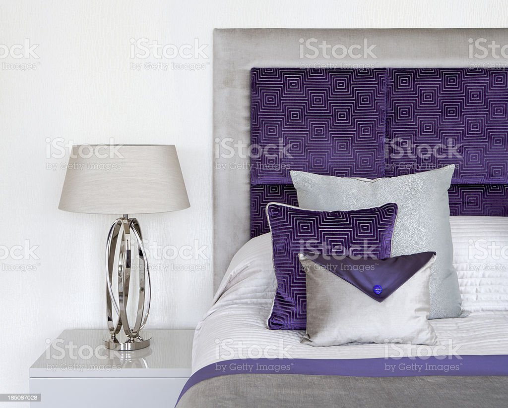 purple and cream silk cushions royalty-free stock photo