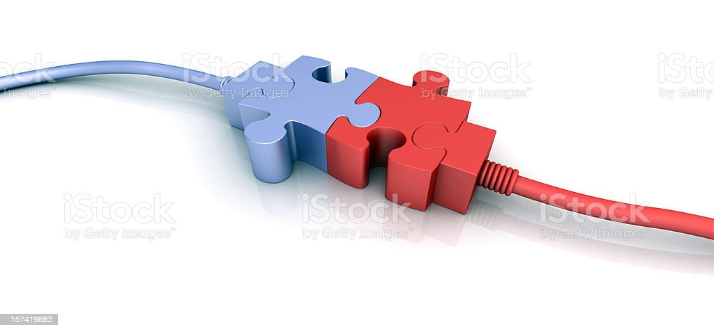 Purple and red cord connectors shaped like puzzle pieces royalty-free stock photo