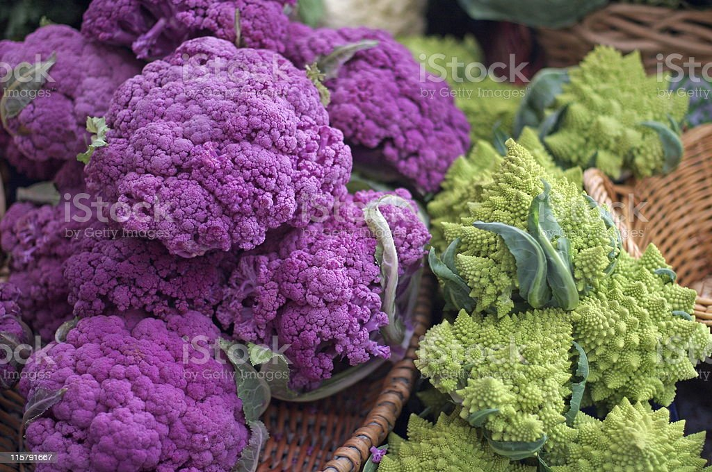 Purple and Romanesco Cauliflower stock photo