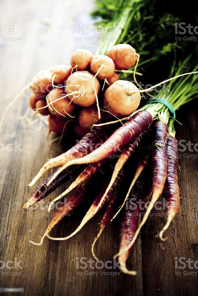 Purple And Thumbelina Carrots stock photo