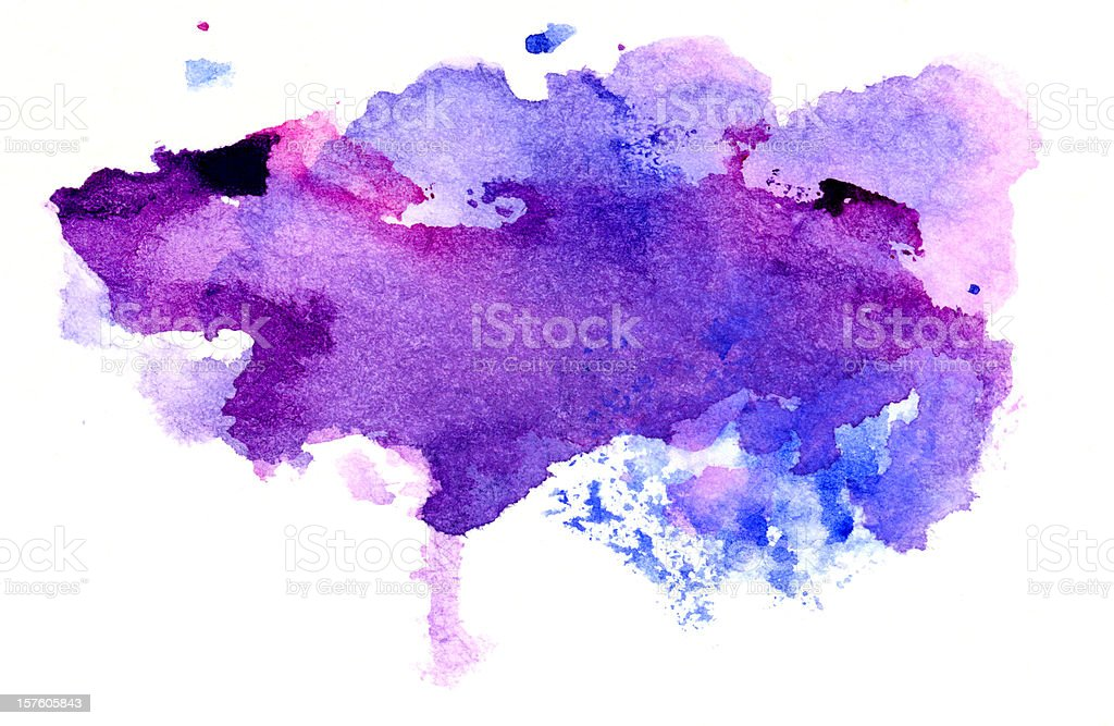 Purple and violet abstract painted splashes stock photo