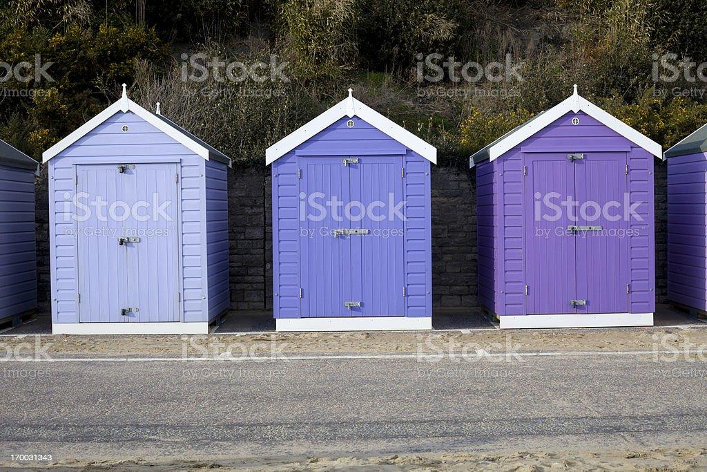 Purple Beach Huts royalty-free stock photo