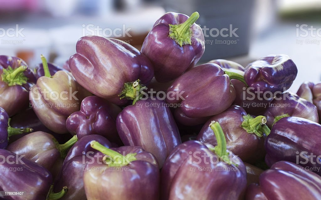 Purple bell peppers royalty-free stock photo