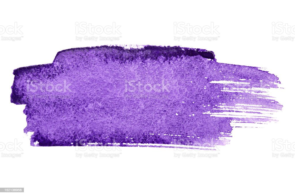A purple brush stroke in watercolor royalty-free stock photo