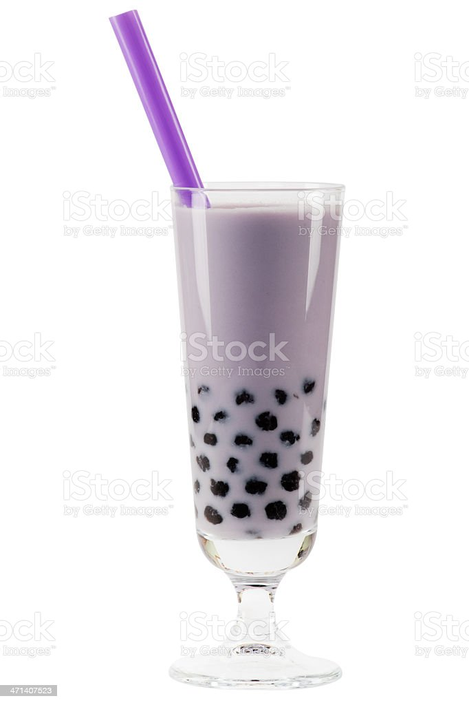 purple bubble tea with clipping path stock photo
