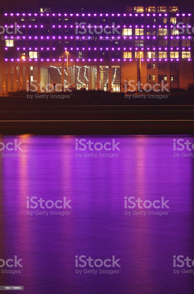 Purple building and river royalty-free stock photo