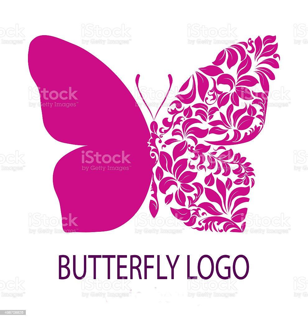 Purple butterfly logo stock photo