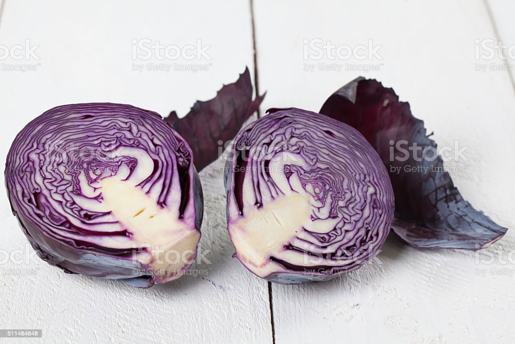 Purple cabbage cross section stock photo