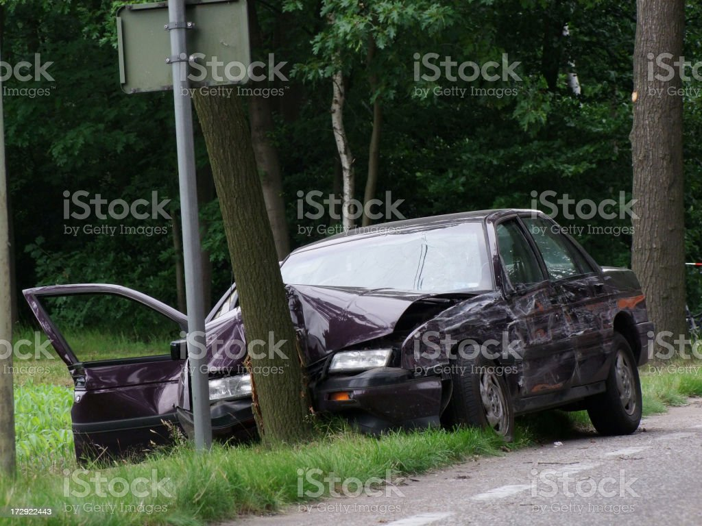 Purple car crashed, head on into a tree near the road  royalty-free stock photo