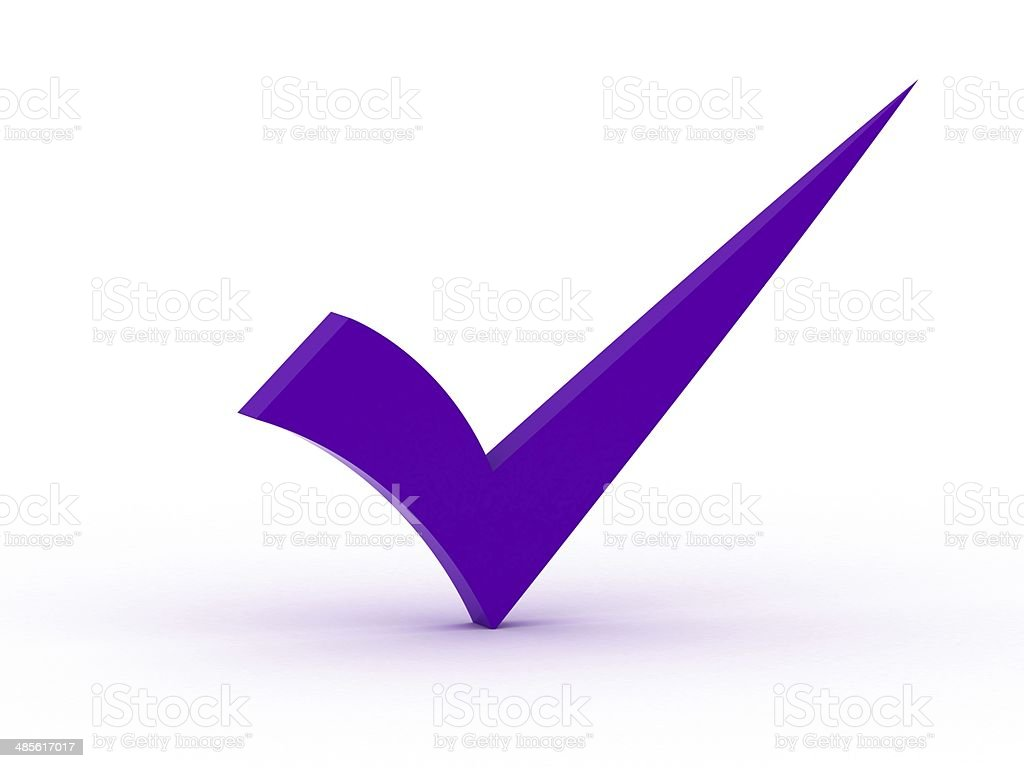 Purple checkmark royalty-free stock photo