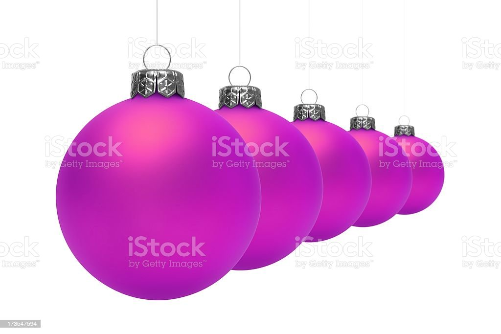 Purple Christmas Balls (Isolated) royalty-free stock photo