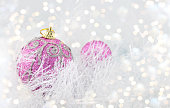 Purple Christmas balls with silver ornaments