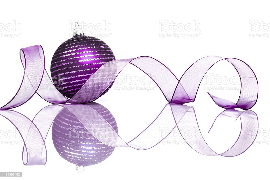 Purple Christmas Bauble Reflection royalty-free stock photo
