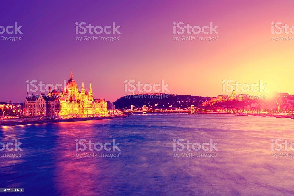 Purple cityscape of Budapest stock photo