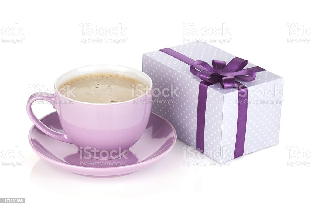 Purple coffee cup and gift box royalty-free stock photo