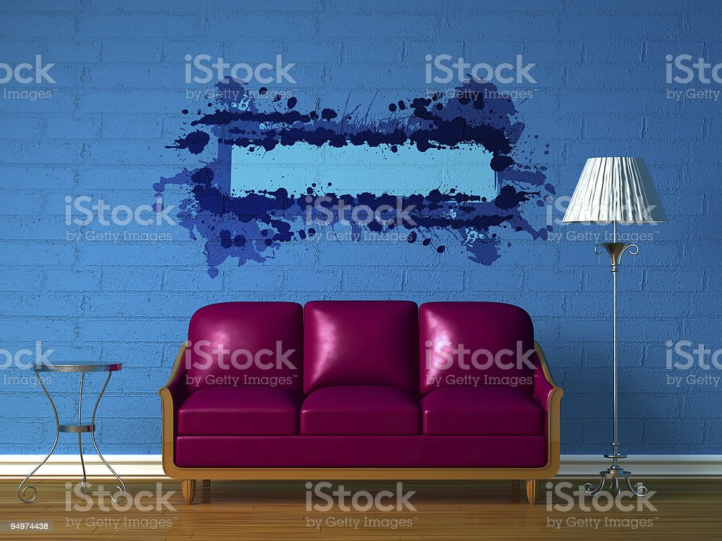 Purple couch, table  and standard lamp in  blue minimalist interior royalty-free stock photo