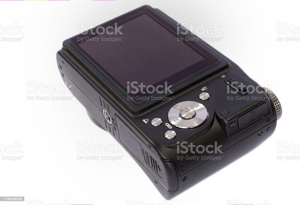 purple digital camera photo isolated on white background stock photo