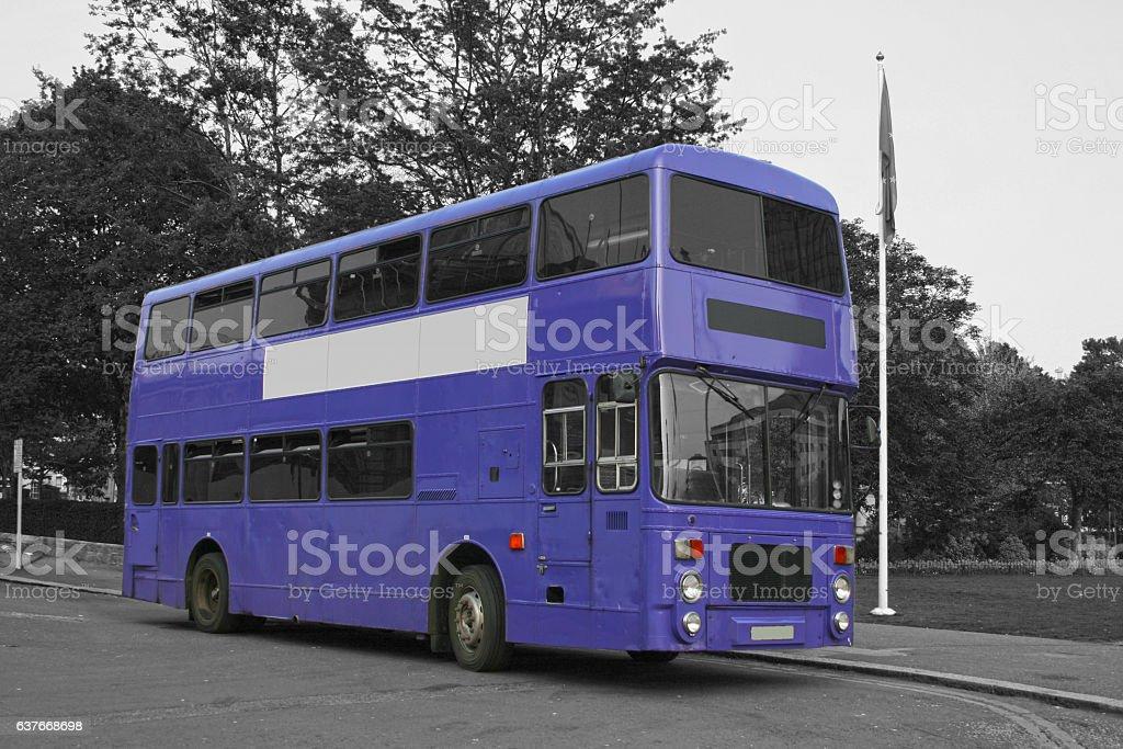 Purple Double-Decker Bus - Cardiff stock photo