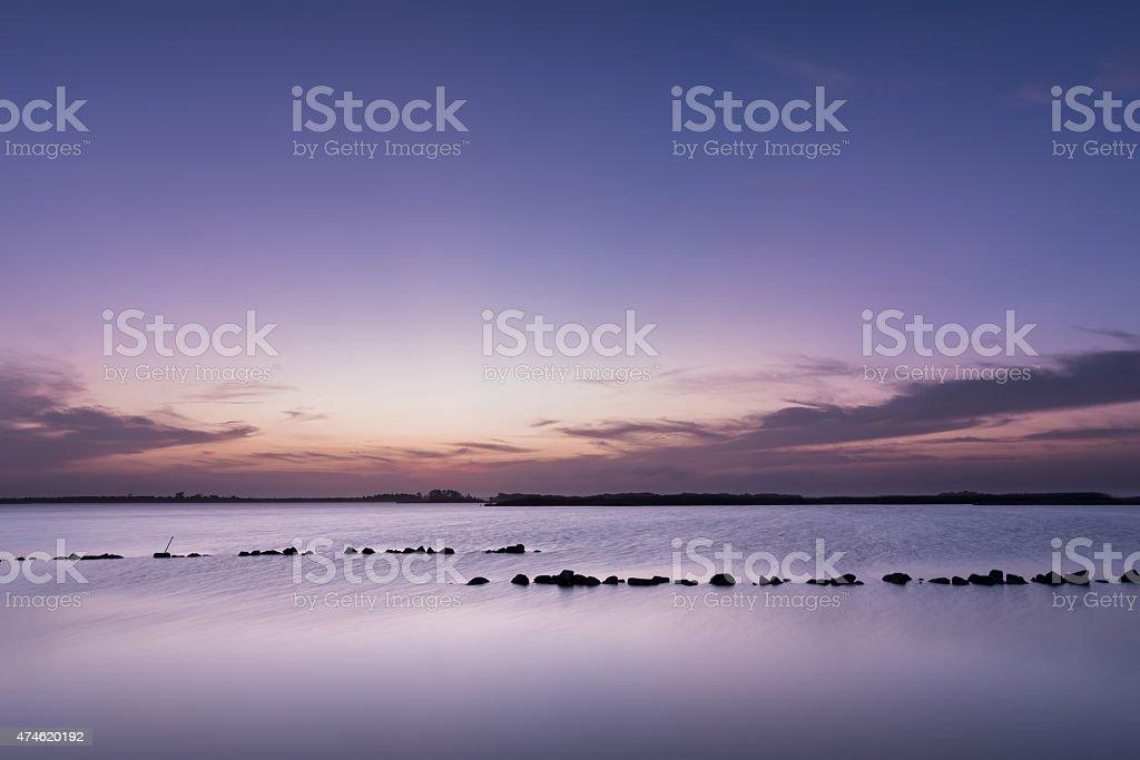 Purple Dusk On The Back Bay stock photo